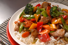 Close up of a plate of stir fry pork